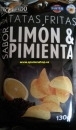 Potato chips with lemon and pepper taste